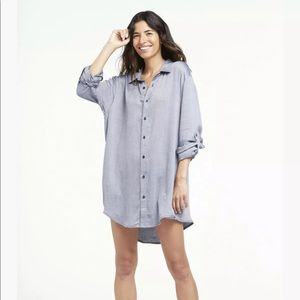Onia Marie Dress Checkered Button-Front Tunic Blue